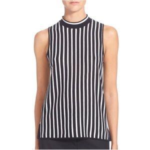 Rag & Bone Livvy Stripe Silk Blend Mock Neck Top